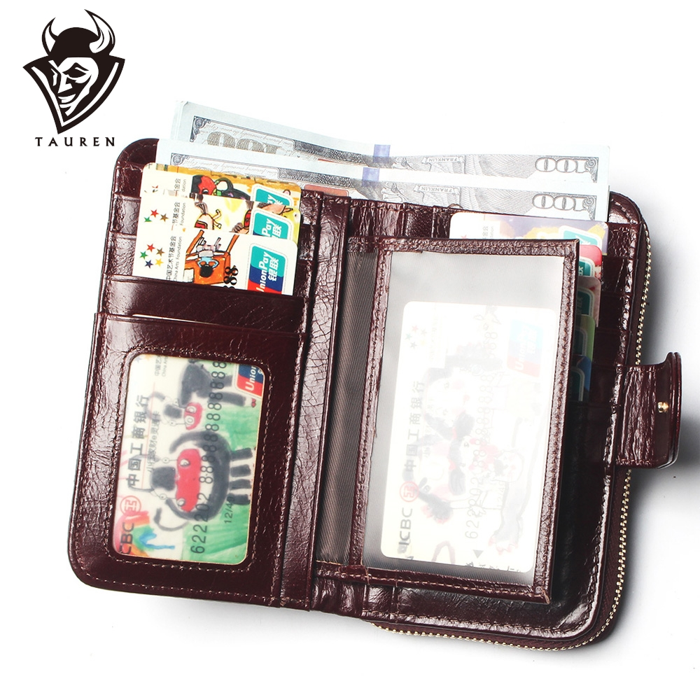 Women Split Leather Style Import Oil Wax Cowhide Medium Paragraph Buckle Leather Wallet Women's High Quality Purse