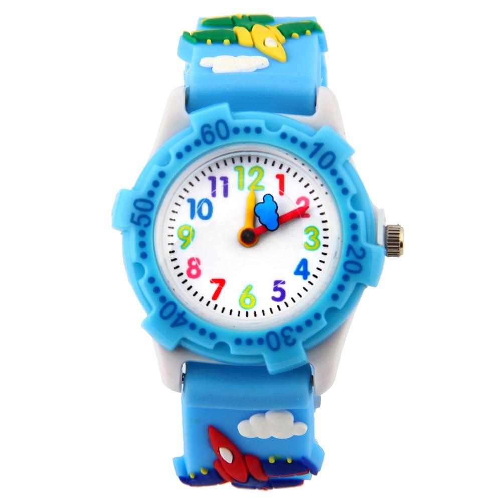 Детские Водонепроницаемые кварцевые часы с круглым циферблатом и силиконовым ремешком с пряжкой и 3d-рисунком