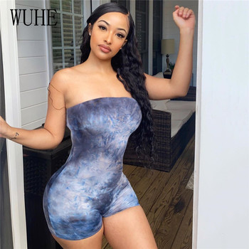WUHE Women Tie Dye Print Off Shoulder Bodycon Short Jumpsuit Sexy Night Club Party Romper Fitness Sports Bodysuit Short Pants wuhe two pieces set sexy lace patchwork jumpsuits women off shoulder sleeveless bodycon bandage romper party short playsuits