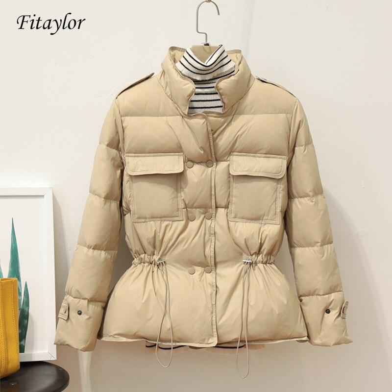 Fitaylor New Winter Ultra Light Down Jacket Women Slim White Duck Down Coat Parkas Female Warm Sash Tie Up Outwear