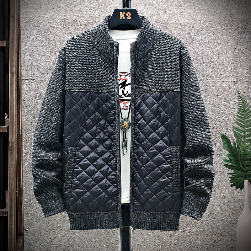 2020 Men Mandarin Collar Cotton Coat Patchwork Autumn Winter Warm Thick Zipper Clothes Knitted Casual Male Cardigan Pull Homme