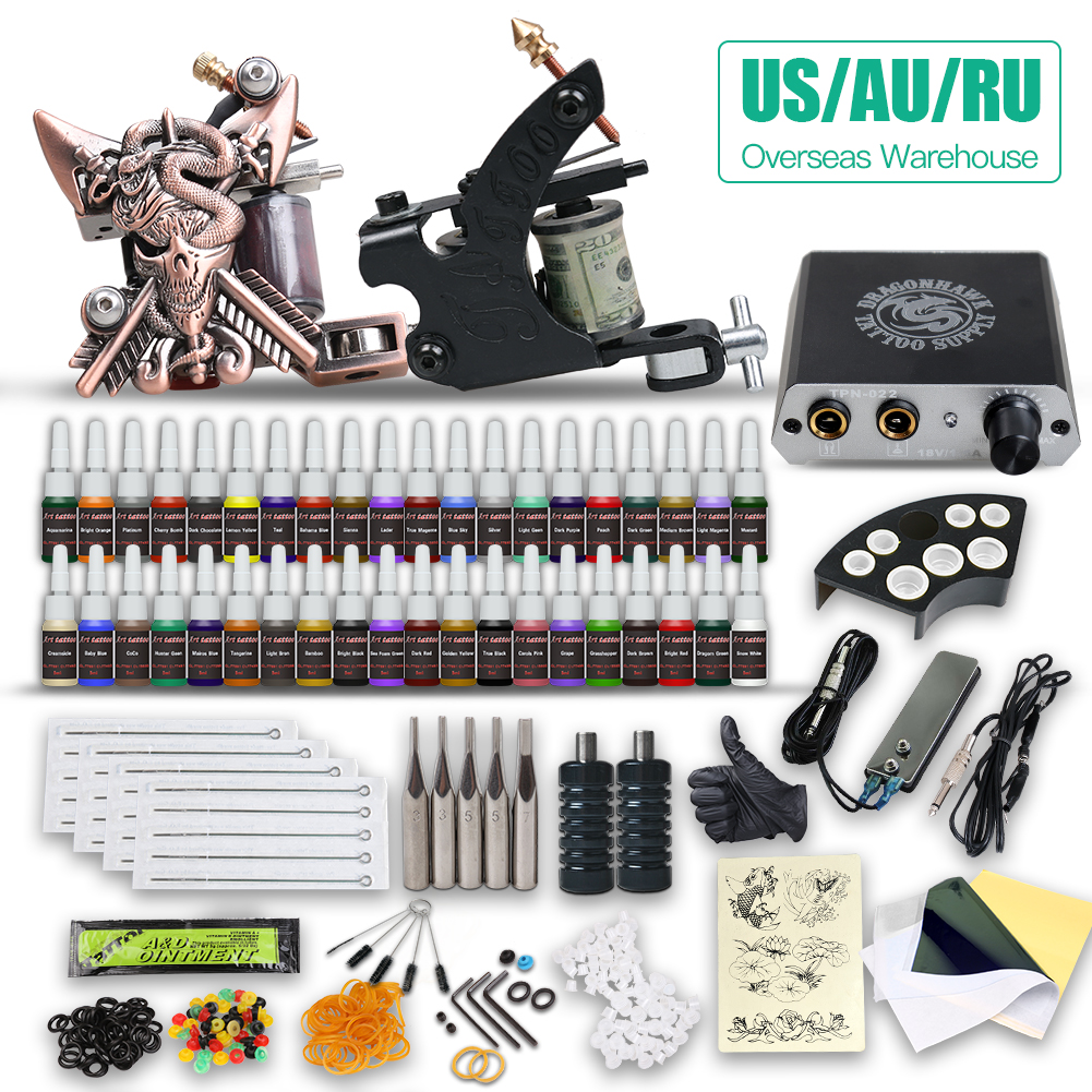 Beginner Complete Tattoo Kit  Set 2 Machine Gun Power Supply Tip Needle Grip