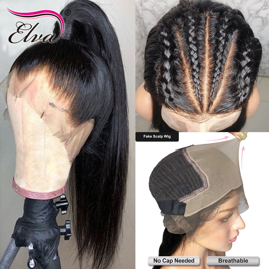 13x6 Fake Scalp Wigs 370 Lace Frontal Wig Straight Lace Front Human Hair Wigs Pre Plucked
