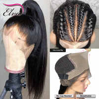 13x6 falso cuero cabelludo pelucas 370 peluca Frontal de encaje recto frente pelucas de cabello humano Pre arrancado Elva pelo Remy pelucas para mujeres negras