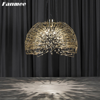 Semicircle Iron Crystal Chandelier Lights LED Nordic Gold Bird's nest Pendant Lamp Art Deco Light Fixture for Bedroom