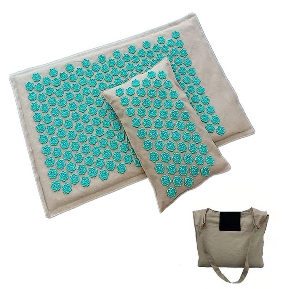 Spike Mat Acupressure Mat And Pillow Set With 1 Storage Bag Comfy Stress Reliever For Relieve Back Neck And Muscles Relaxing