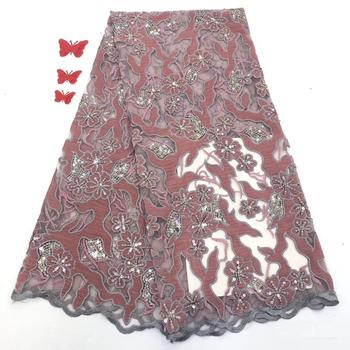 Madison Velvet Fabric Lace Sequin Embroidered African Nigeria Embroidery Onion Color Net Sequence Latest Hot Sale Fashion
