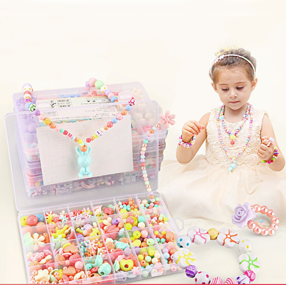 Kids jewelry DIY Beaded Bracelet necklace multicolor Acrylic Sugar Accessories Children Gift Handcraft Department Jewelry
