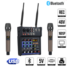 4 Channel Audio Mixer Console With Wireless Microphone Sound Mixing With Bluetooth Usb Mini Dj Mixer for Computer Recording