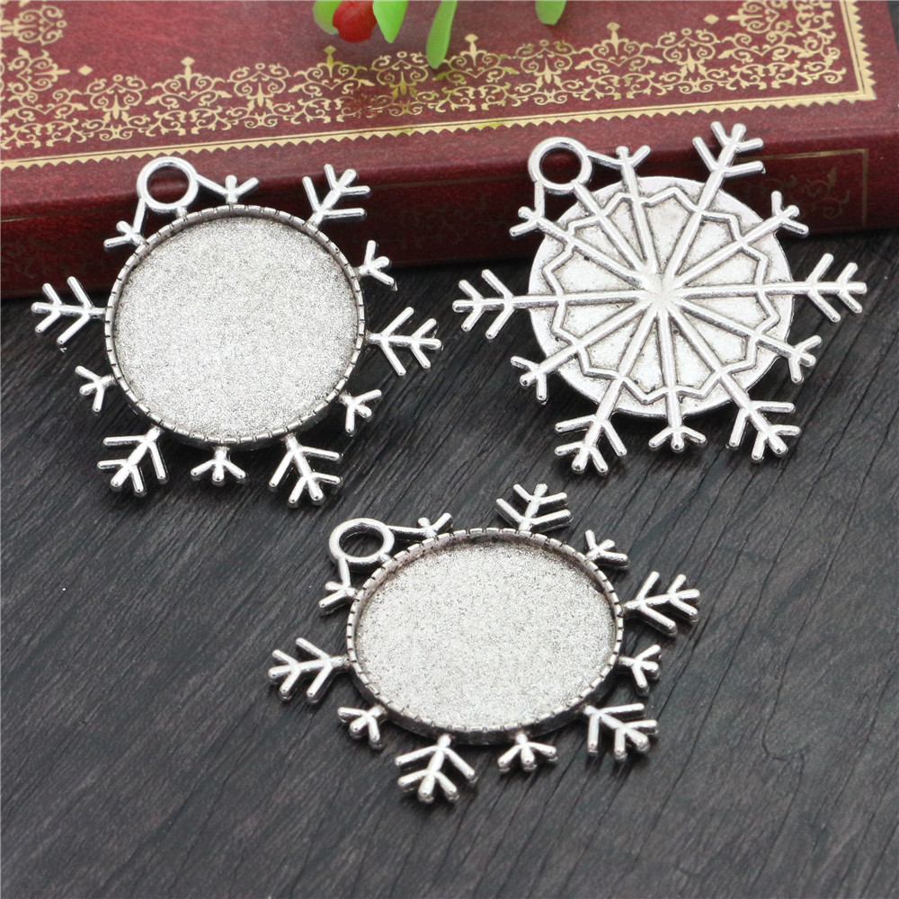 New Fashion  3pcs 25mm Inner Size Antique Silver Plated Snowflake Style Cabochon Base Setting Charms Pendant (A3-25)
