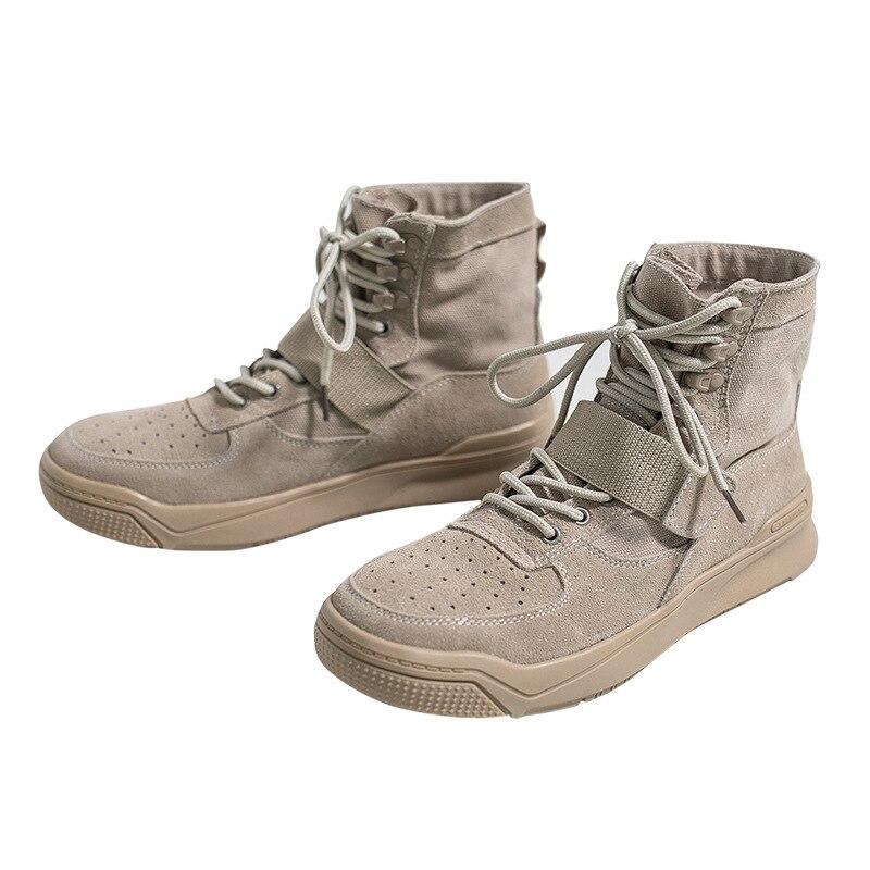 2019 autumn and winter new leather men's high-top shoes men's Korean men's shoes Martin boots men's wild casual shoes