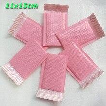 Enveloppes rembourrées à bulles en Poly rose, 25 pièces, 100 pièces, 11x15cm, taille extérieure 4.3x5.9 pouces, taille utilisable 9x15cm