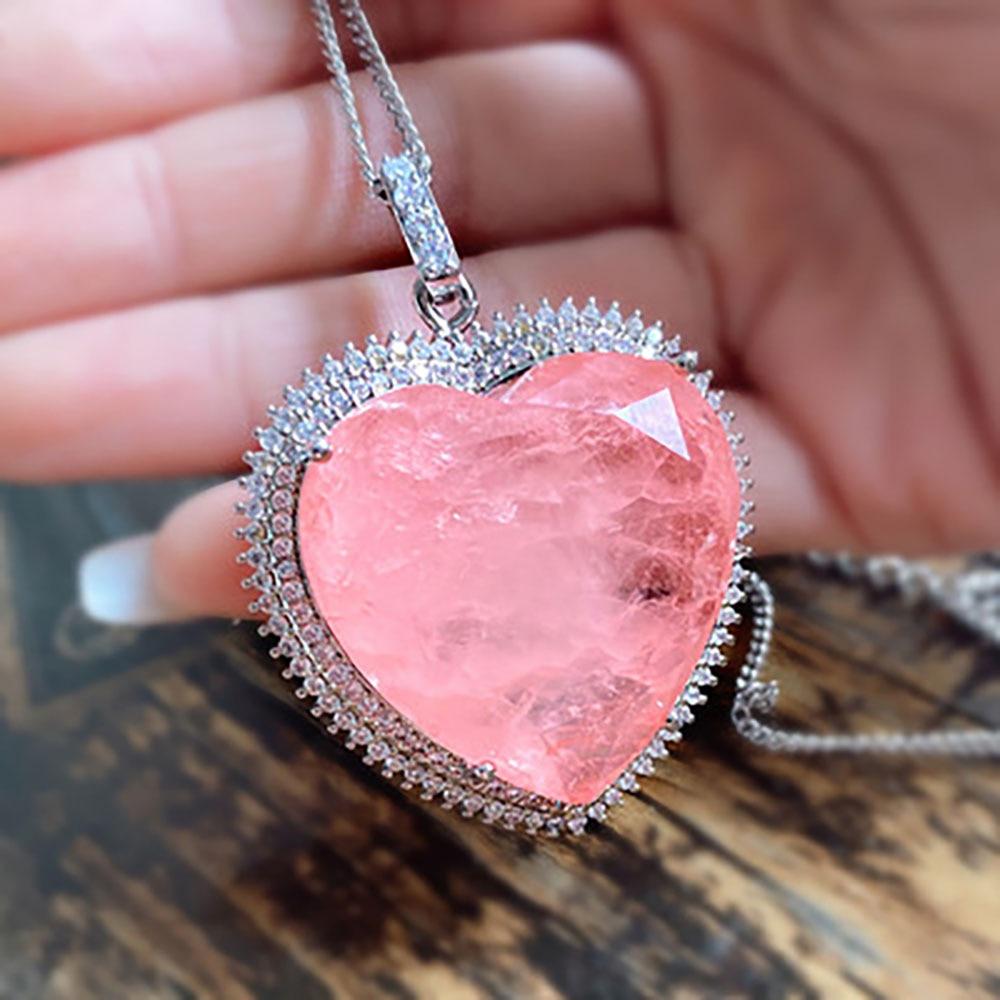 2020 32*32mm coeur rose cristal Tourmaline créé Moissanite pierre précieuse pendentif collier pour les femmes bijoux fins cadeau danniversaire