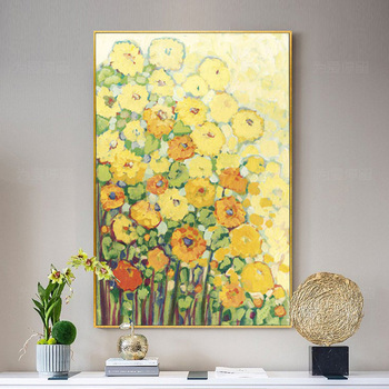 Pure hand-painted Oil Painting Flowers Garden Restaurant Dining Room Decorative Painting Modern Minimalist Paintings New Chinese