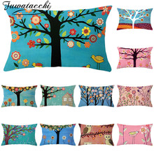 Fuwatacchi Colorful Tree Flower Pattern Cushion Covers Polyester Pillowcase for Home Sofa Decorative Throw Pillow Covers 30*50cm