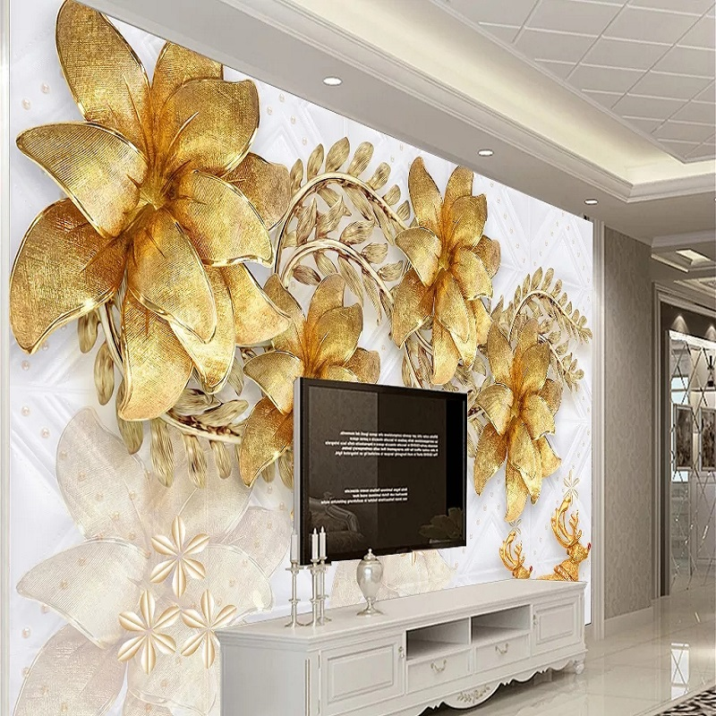 Custom Large Mural 3D Wallpaper Modern Fashion Creative Jewelry Flowers Golden Leaves Living Room Wall Decor Deep 5D Embossed