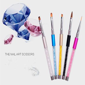 40PCSProfessional wielofunkcyjny kryształowy długopis pędzel malarski Nail Art akrylowy żel UV projekt pędzel malarski pióro do rysowania narzędzia do tipsów tanie i dobre opinie doxa Szczoteczka do paznokci
