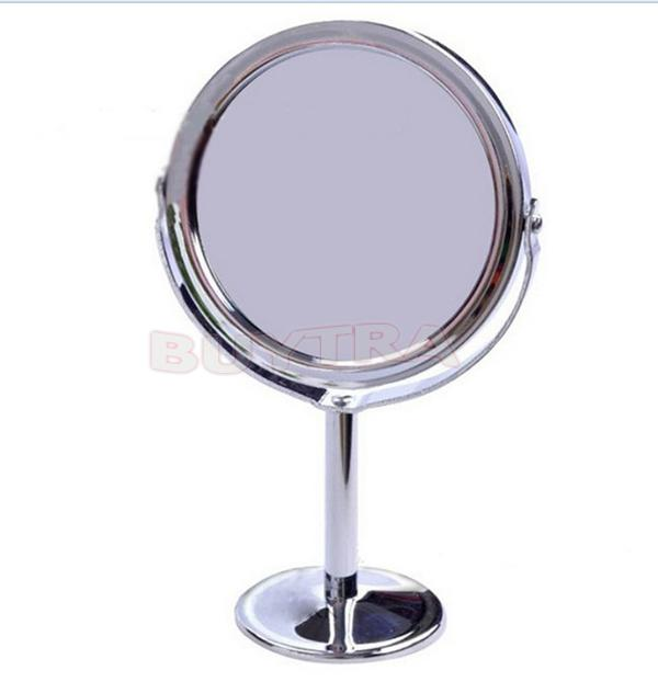 Stainless Steel Holder Make Up Mirrors Cosmetic Bathroom Double-Sided Desk Makeup Mirror Dia 8cm Women Ladies Home Office Use image