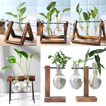 Frame Glass Vase Tabletop Terrarium Hydroponics Plant Vases Bonsai Transparent Flower Pot with Wooden Tray Home Decor 1