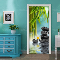 Self Adhesive Diy Art Decal Sticker Home Door Stone Flower Bamboo 3D DecorRenovation PVC Wallpaper Print Picture for Living Room