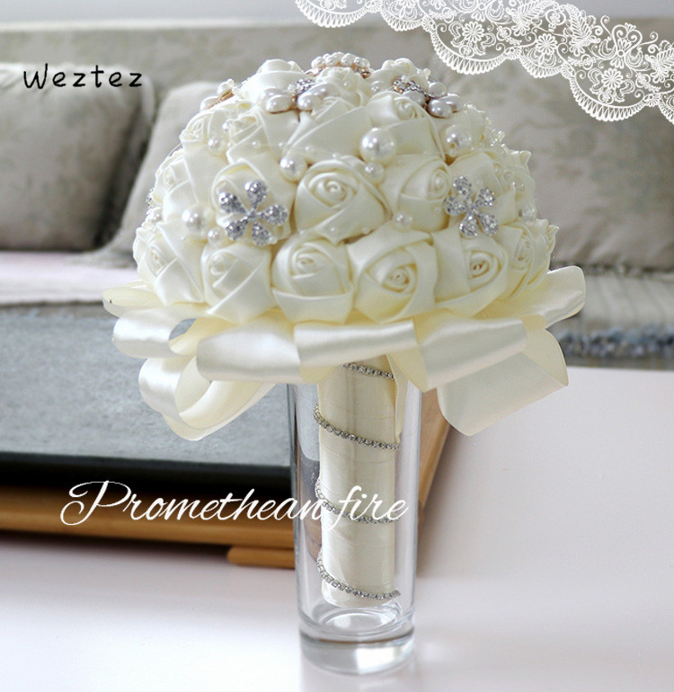 Bridesmaid Artifical Wedding Flowers Bridal Bouquets Crystal Wedding Bouquet Red Brooch Bouquet Wedding Accessories SPH65