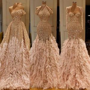 Image 1 - Glitter Gold Pailletten Meerjungfrau Feder Afrikanische Prom Kleider Langarm Eine Schulter Abendkleid Plus Größe Graduation Formal Kleid
