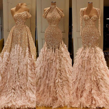 Glitter Gold Sequin Mermaid Feather African Prom Dresses Lon