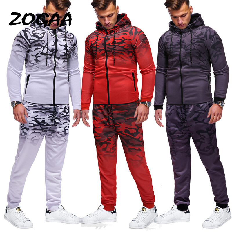 ZOGAA 2020 European And American Men's Sports Suit Casual Sports Sweater 3D Gradient Printing Zipper Hip Hop Suit