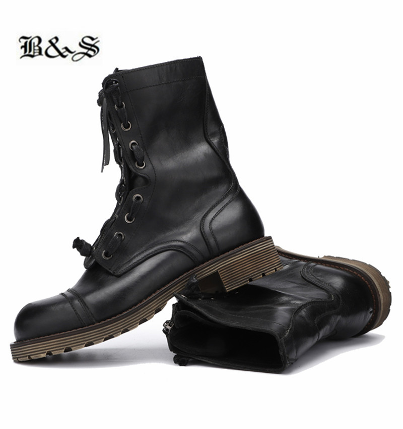 Black&Street Boutique Handmade High To cow Leather Retro Motorcycle Boots England tooling vintage big toe Boots