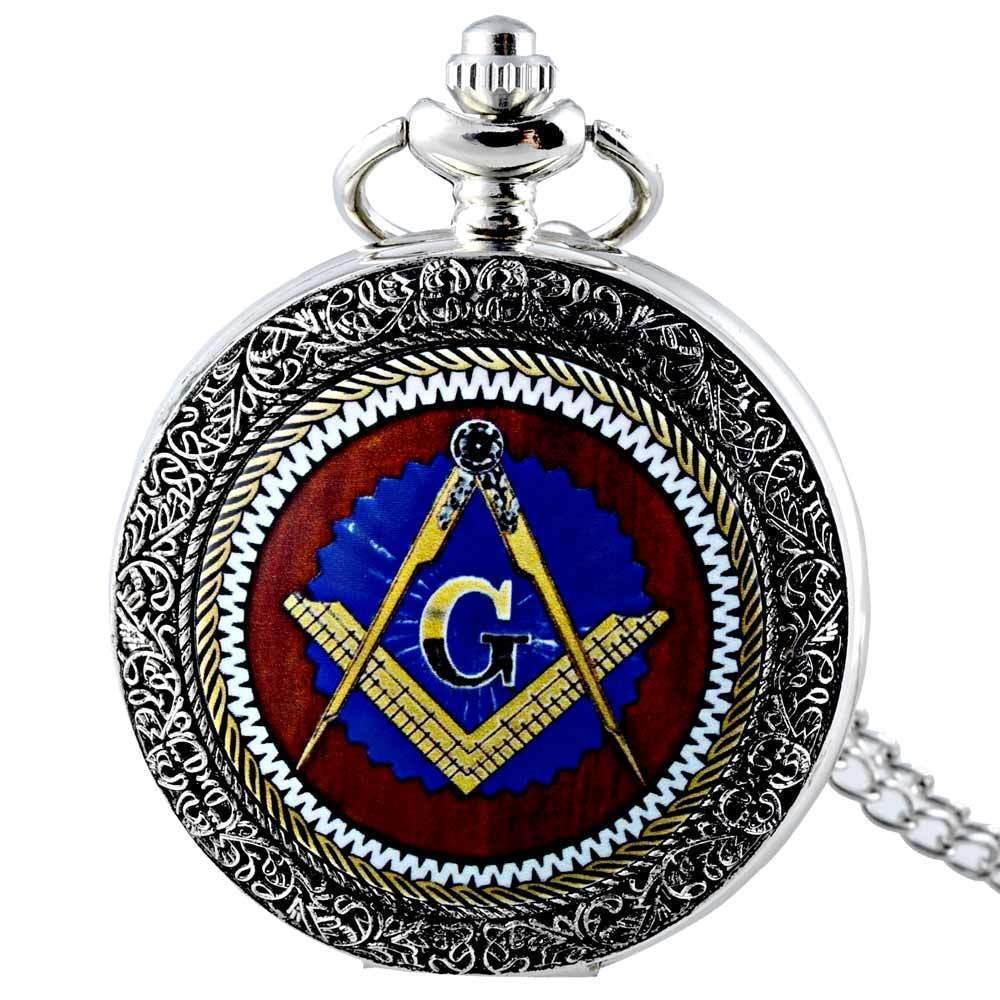 IBEINA Fashion Retro Free-masonry Pocket Watch Full Hunter Quartz Engraved Fob Retro Pendant Pocket Watch Chain Gift