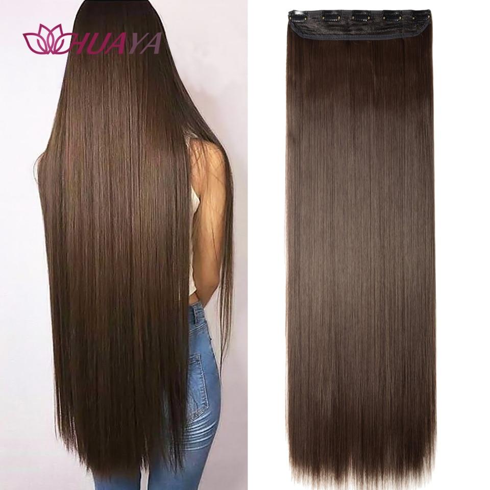 Длинные прямые накладные волосы HUAYA на 5 зажимах, 24 дюйма, термостойкие синтетические волосы, черные, коричневые накладные волосы с шпилькам...