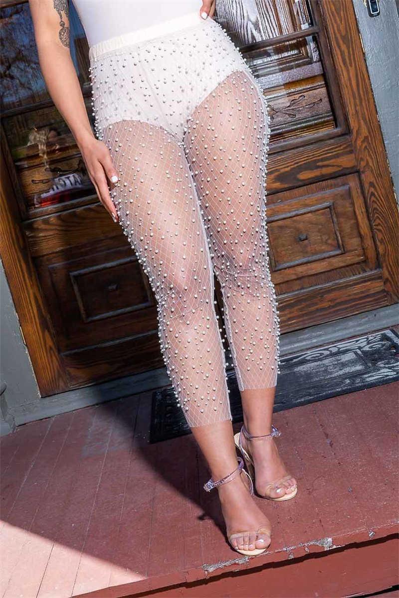 Adogirl/жемчужные прозрачные сетчатые штаны, брюки длиной до щиколотки, женские модные пикантные Вечерние наряды для ночного клуба, летняя одежда