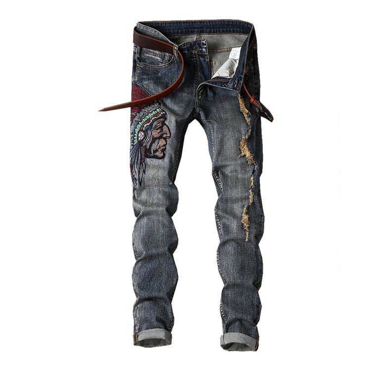 AliExpress Export MEN'S Jeans Black Embroidery Trousers Star Style Badge Europe And America Jeans Men's