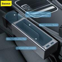 Baseus – boîte de rangement universelle pour voiture, organisateur de voiture, boîte de rangement, double chargeur USB pour organisateur de poche, portefeuille, cigarettes, clés, téléphone