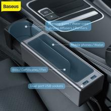 Baseus Car Storage box Universal Car Organizer Storage Box Dual USB Charge For Pocket Organizer Wallet Cigarette Key Phone Holde