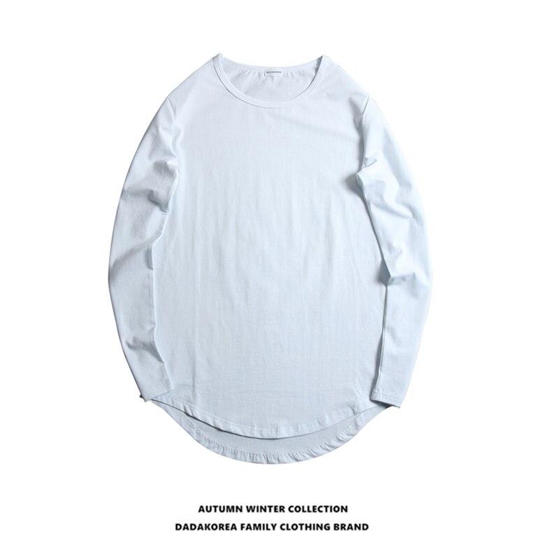 DADAKOREA Wild High Street Arc-shaped Irregular Round Neck Men And Women Couples Long-sleeved T-shirt Base Shirt Compassionate
