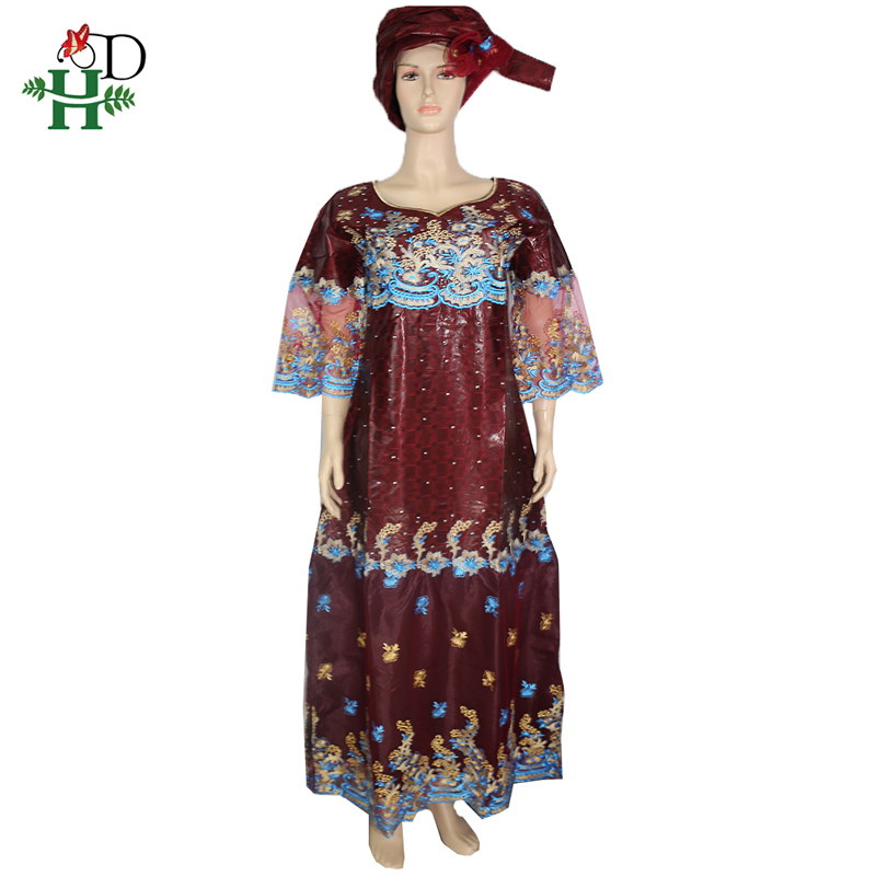 H&D African Lace Dress With Stones Dashiki Dresses For Women Bazin Riche Traditional South African Dress Lady Plus Size Wear