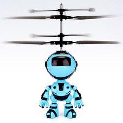 Com luz led crianças zangão brinquedos robô design mini quadcopter presente ao ar livre controle de mão voando indução infravermelha rc helicóptero