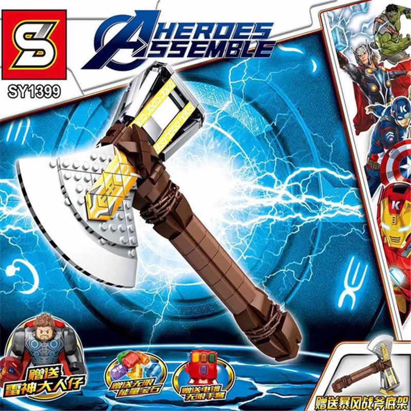 2019 The Avengers 4 Il Infinite Guanti Legoinglys Blocchi di Costruzione di Modello Giocattoli Thunder Hammer Tempesta Ascia Con Thanos Capitano Thor