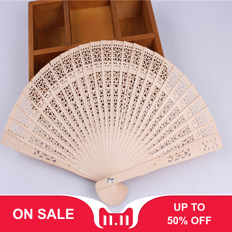 Vintage Hollow Carved Wooden Flower Folding Hand Held Fan Wedding Bridal Decorating Tools Party Gifts