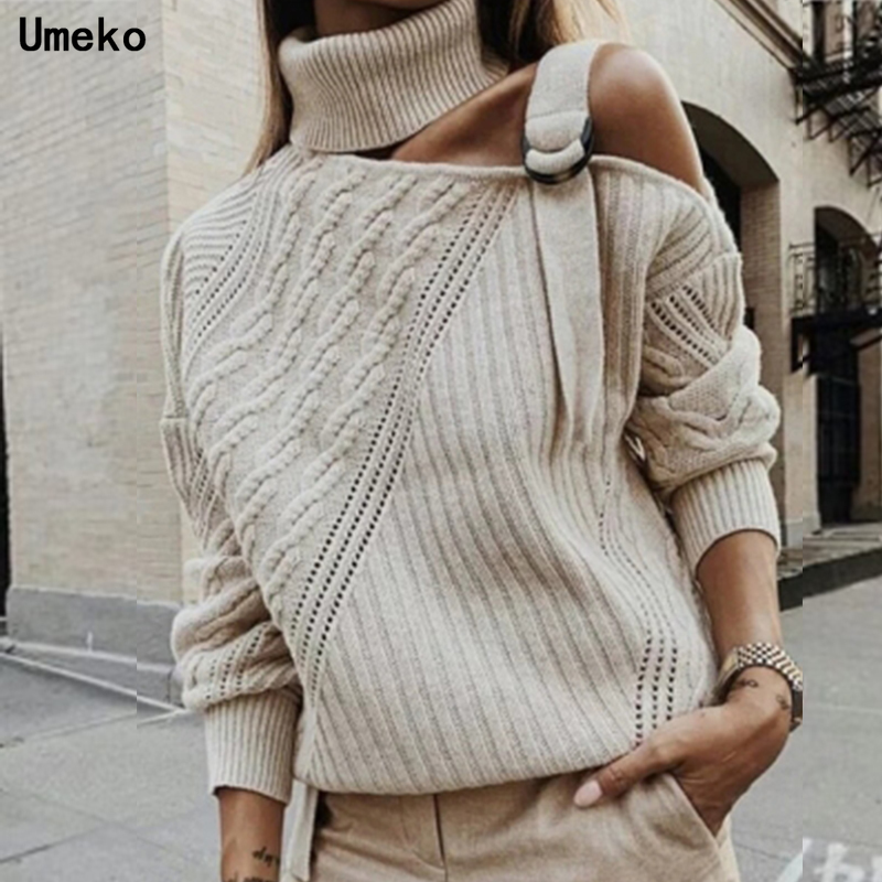 Umeko 2019 New Sexy Halter Knit Sweater Women Jumper Autumn Winter Strapless Pullover Long Sleeve Female Knitwear Pull Femme