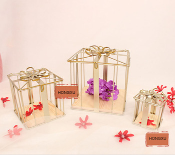 3pcs Set Creative Bird Cage Wrought Iron Decorative Wedding Supplies Dessert Display Stand  Gift Box Pre-function Area Decoratio