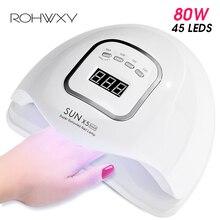 ROHWXY สำหรับเล็บ LED UV โคมไฟ 80W เล็บเล็บสำหรับเล็บจอแสดงผล LCD แห้งทั้งหมดเจลเล็บเล็บเครื่องมือ