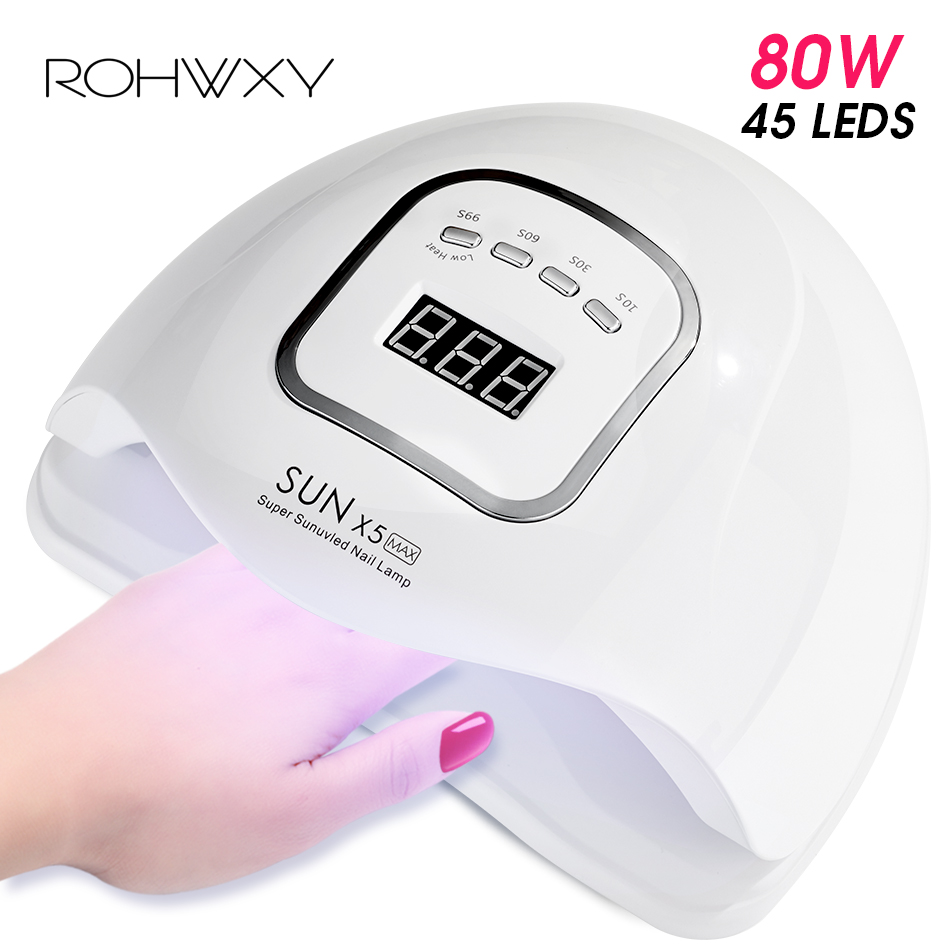 ROHWXY Nail Dryer For Nail <font><b>LED</b></font> <font><b>UV</b></font> <font><b>Lamp</b></font> <font><b>80W</b></font> Nail <font><b>Lamp</b></font> For Manicure LCD Display Drying All Gels Nail Polish Nail Art Tools image