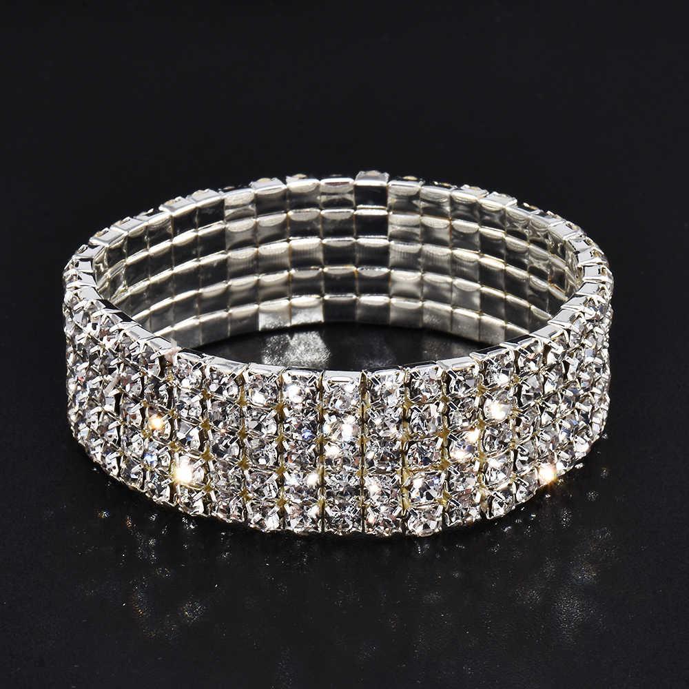 De alta calidad de las mujeres de la moda Gilr de elasticidad de diamantes de imitación de cristal brillante brazalete de pulsera de fiesta boda pulsera regalo 5 Estilo