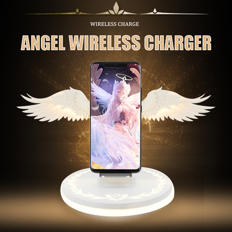 10W Wireless Charger Angel Wings Night Light Mobile Phone For Samsung s10 Xiaomi Android Apple USB Fast Charge