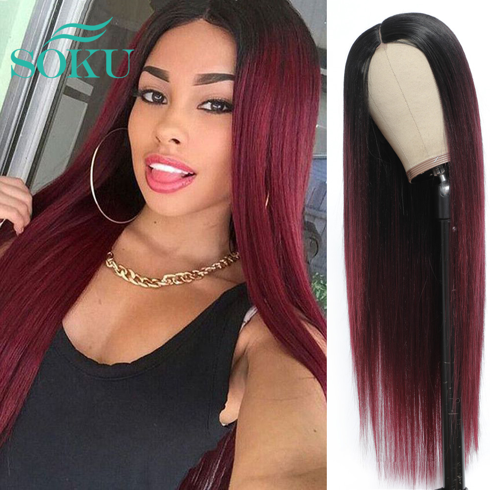 Synthetic Straight Lace Wig Ombre Red Color Long Soft Hairstyle SOKU Middle Part Heat Resist Black Lace Wig For Black Women