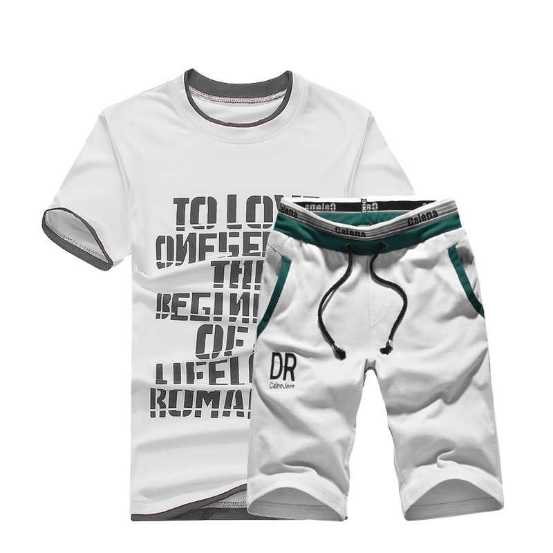 Yaz erkek setleri kısa kollu baskı eşofman erkek spor rahat 2 adet Set T-Shirt + şort erkek giyim ince spor takımları