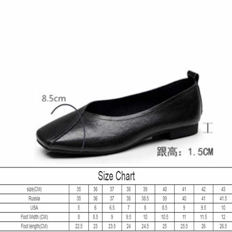 ¡Novedad de otoño 2020! Zapatos planos de AIYUQI de cuero auténtico para mujer, zapatos informales de talla grande y antideslizantes 35-43 para mujer