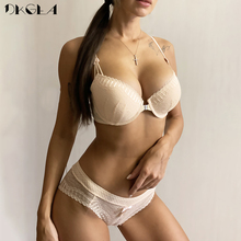 New Arrivals Front Closure Bras Lace Embroidery Gathering Underwear Set Women Sexy VS Lingerie Black Thick  Push Up Bra Set